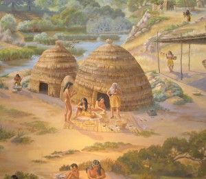 Painting of a scene from an Ohlone village