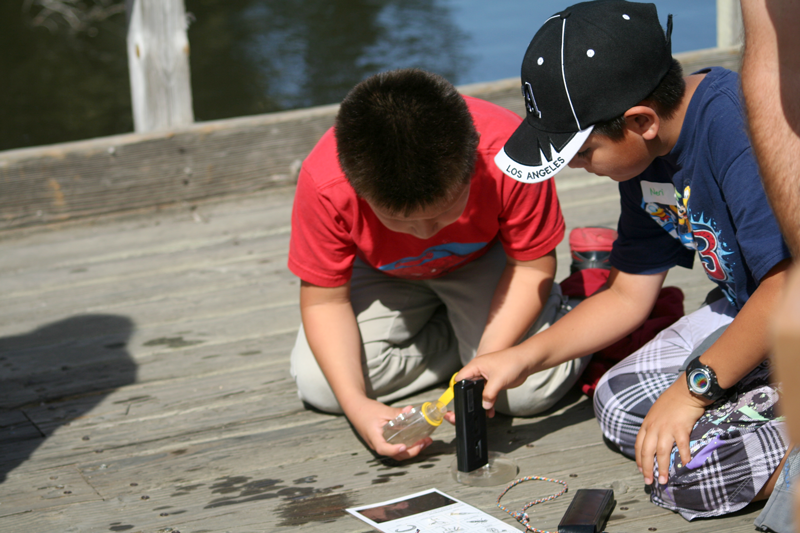 Students performing water quality tests