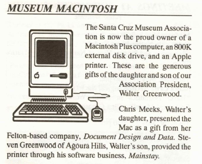 Clipping from when the museum first got a new macintosh