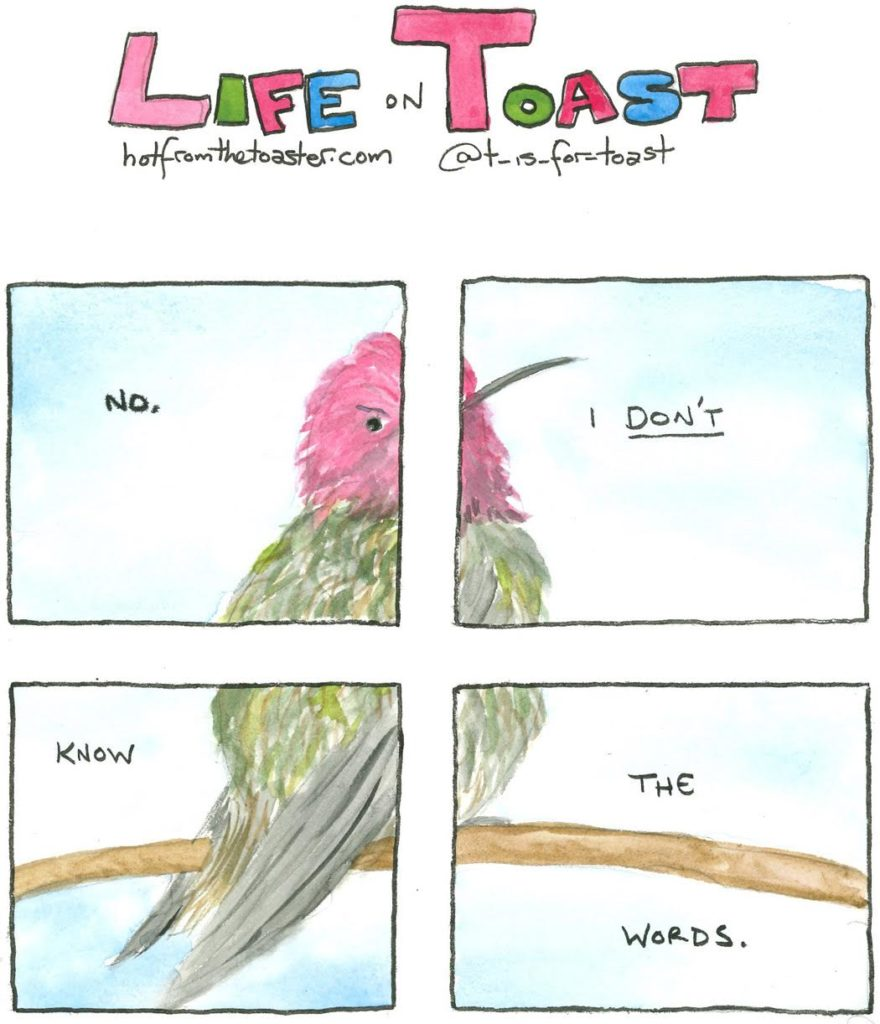 "A 4-panel comic from Life On Toast by Diane T Sands saying, ""No, I DON'T know the words."""