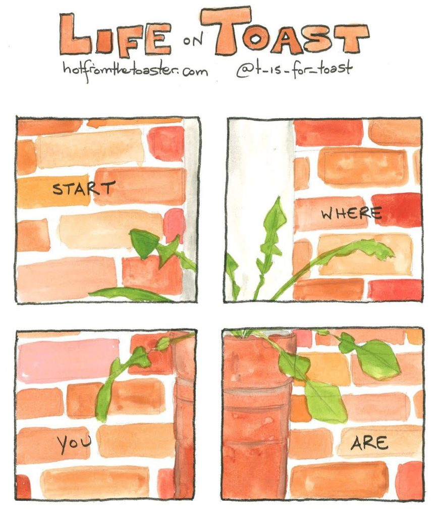 "A 4-panel comic from Life On Toast by Diane T Sands that says ""Start Where You Are"""