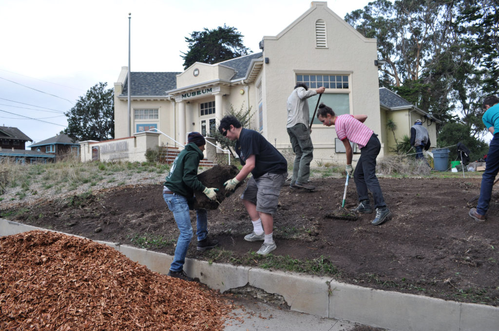 Students doing landscaping