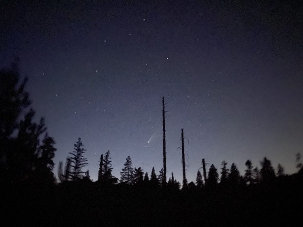 cellphone photo of the comet NEOWISE was taken at the Bonny Doon Ecological Reserve