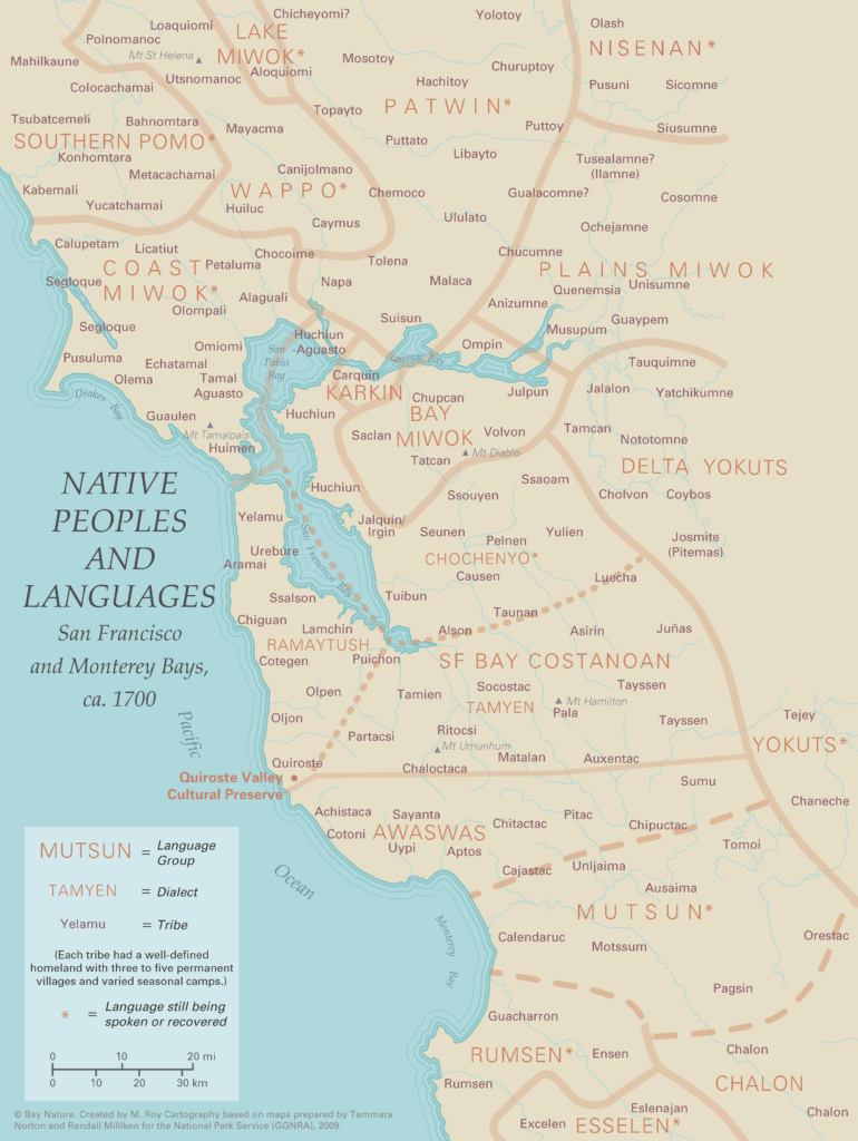 Map of native people and languages in the San Francisco and Monterey Bays.