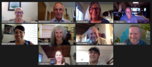 a group photo of each of our current board members via Zoom