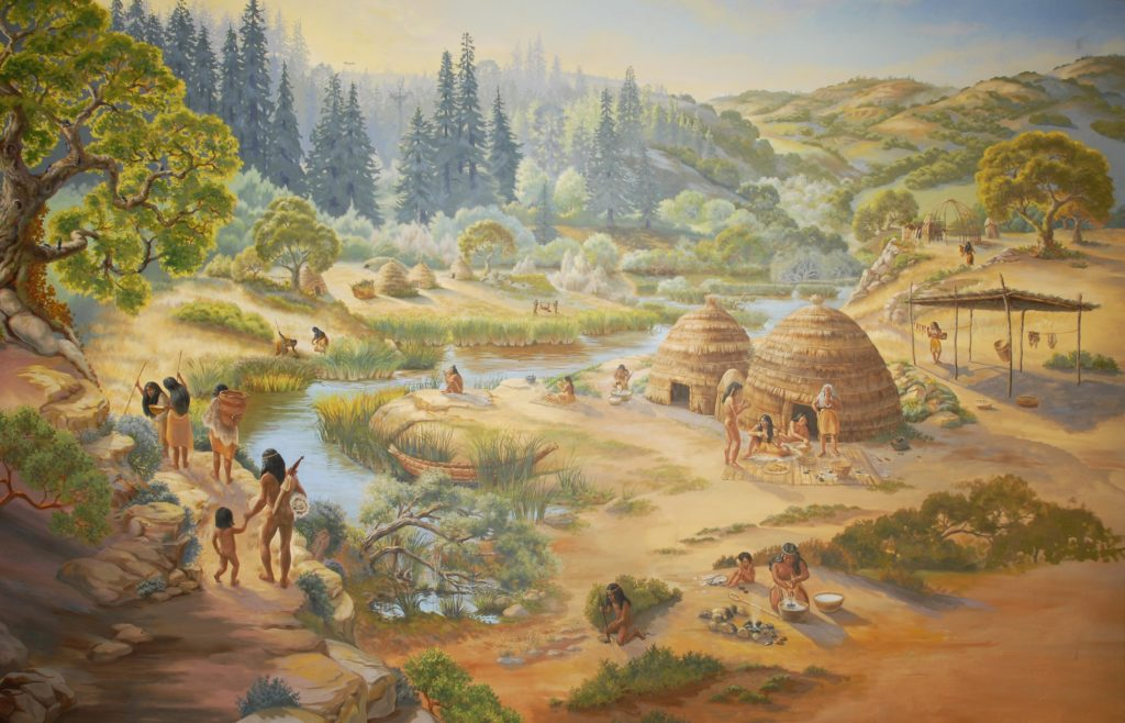 Mural of an Ohlone village by artist Ann Thiermann