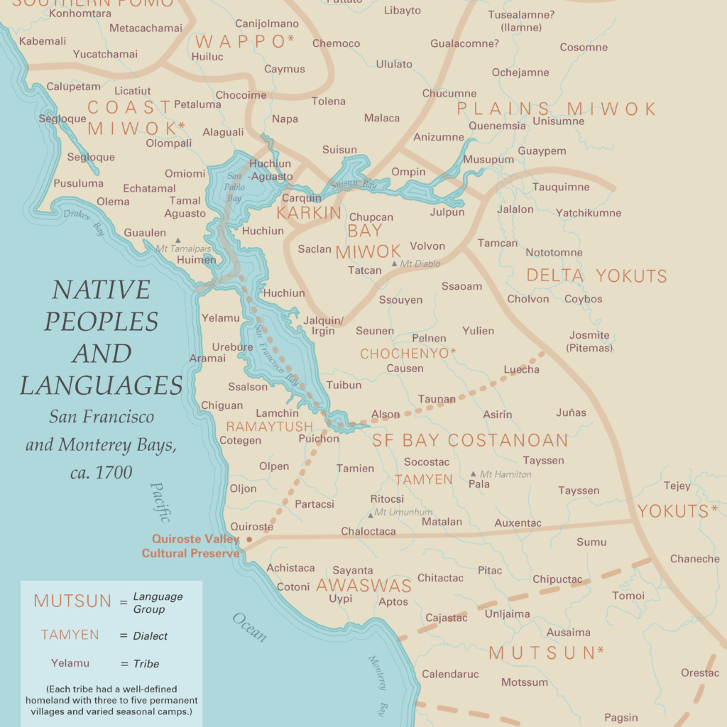 Map of Bay Area Native people and their languages