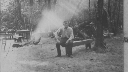 Historic photo of Humphrey Pilkington in a camp site